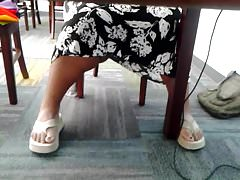 Candid mature bbw feet in library 4