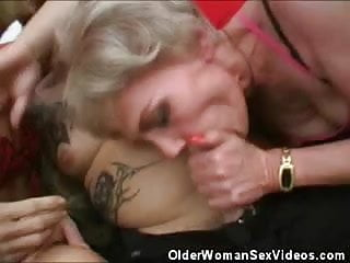 Mature Women Taking Turns Sucking That Cock
