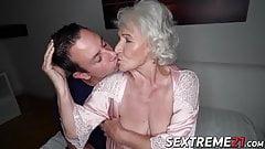 Busty elder Norma sucks cock before penetration