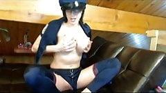 Bigtits Police slut Bianca dildo cam fucking