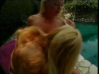 Blonde lesbians with pert round melons in pussy munching and dildo fucking fun