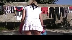 Flashing upskirt without panties