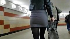 Hot tall slim blonde in short skirt