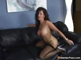 Horny MILF taking black anal
