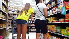 Candid voyeur it`s very HOT  teen long legs grocery store with mom