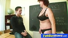 Older woman as teacher fucking young big dick student