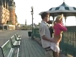 A Beautiful blonde girl fucks outdoor