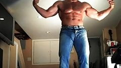Thick hairy cock in muscle stud strokign and shooting