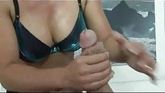 Hot Blonde MILF gives guy a handjob
