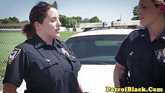 Femdom cop gags on black cock