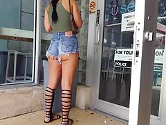 Candid voyeur thick latina tiny shorts boots cheeks ass