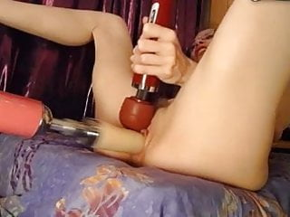 Gal gets fucked hard by machine, uses vibe on clit