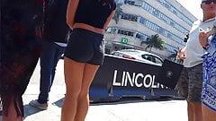 Candid voyeur black shorts black top big tits
