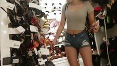 Sexy teen in denim shorts