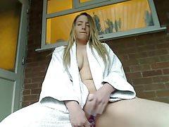 Sexy girl masturbate outdoor
