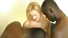 hot blonde wifey fuck two black men