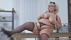 BBW milf Renatte will brighten up your day in the office