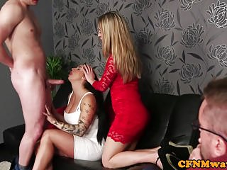 Glamorous cfnm dom tugging sub in group