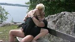 Blonde rides hard stiffy outdoor