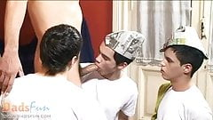 Young twink painters seduced by the older gay host