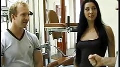 Brunette gets fucked in the gym by 2 studs