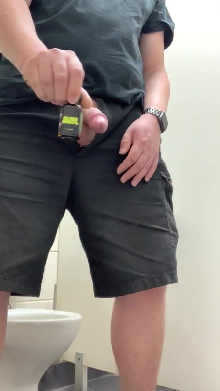 Wanking huffing and cumming at work