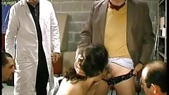 French hairy slut gets gangbanged with Papy Voyeur