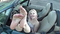 blond soles in car