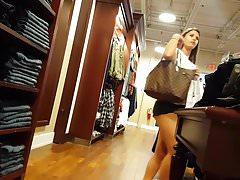 Candid voyeur french girl showing ass cheeks shopping