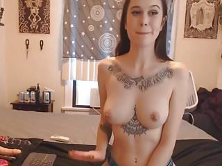 Beautiful Tattooed Babe Dildo Fucked Her Pussy