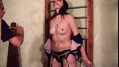 Dark-haired hottie ends up with clothes pegs on her tits