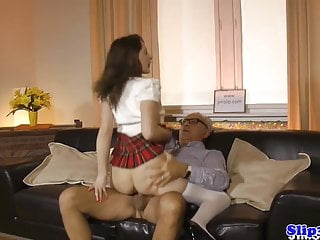 Eurobabe blows geriatic then rides his cock