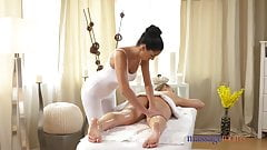 Massage Rooms Shy teen lesbian foot fucks babe