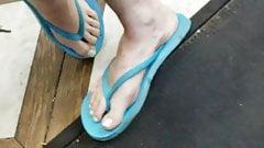 Candid feet flip flops