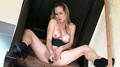 Kinky blonde fucks pussy with big old brush for huge orgasm