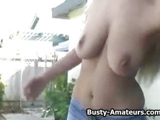 Busty blonde Autumn enjoying her bouncing boobs