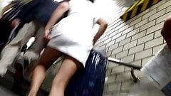 Asian upskirt metro stairs