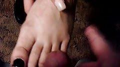 Cumming on Black girls feet and hand