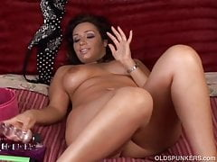 Beautiful busty brunette MILF loves to play with her pussy