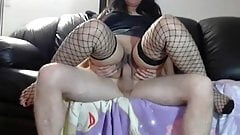 My MILF Exposed Big ass asian wife in fishnets rifing cock