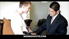 Blonde Nerdy Twink Mormon Boy Jerks Off In Front Of Leader
