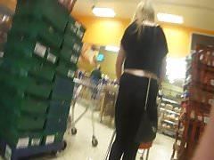 Hot blonde milf shopping in see through leggings