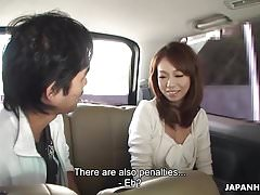 Asian babe getting her wet pussy toy fucked in the cab