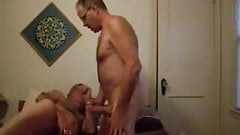 Two old mature men masturbating in the bed