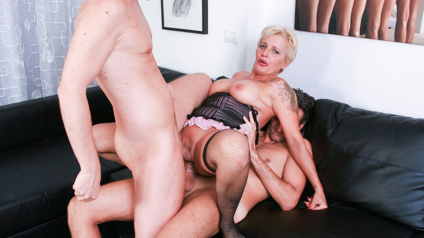 Chubby Big Titted Blond Mature Takes BBC In Office