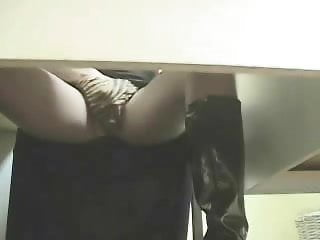 Hidden cam under desk caught my girlfriend masturbating