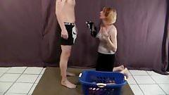 Mommys Revengeblowjob for White Stains in Laundry