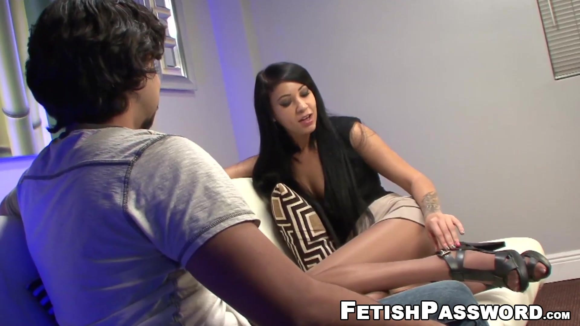 Naughty babe Ezmie Lee gives footjob POV style