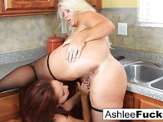 Kitchen lesbians make each other cum all over the counter!