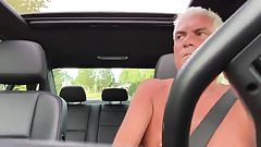 older dad goes for a naughty naked drive
